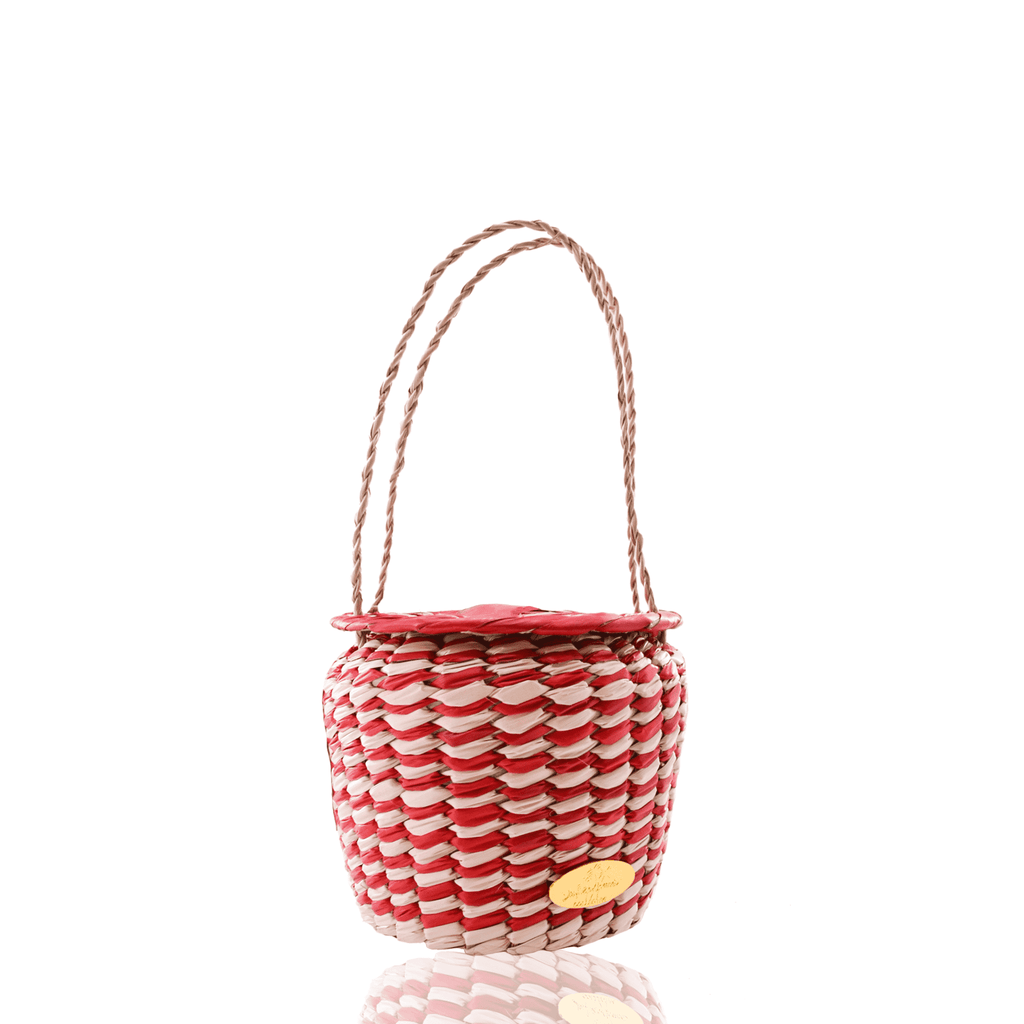 Honey Pot Basket Bag in Red and White
