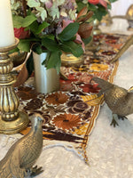 Embroidered Table Runner in Fall Hues- White with Autumn Flowers #5 - Josephine Alexander Collective
