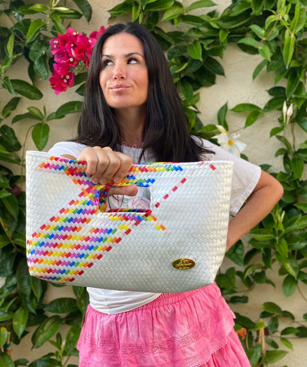 Alison Woven Clutch in White Splash of Rainbow - Josephine Alexander Collective