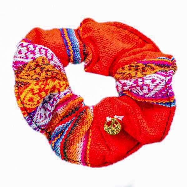 Inca Woven Scrunchie in Cherry