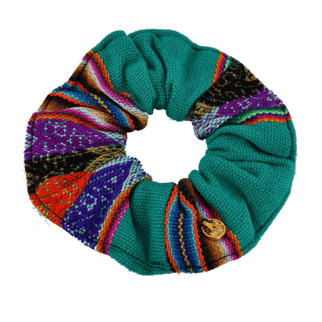 Inca Woven Scrunchie in Turquoise - Josephine Alexander Collective