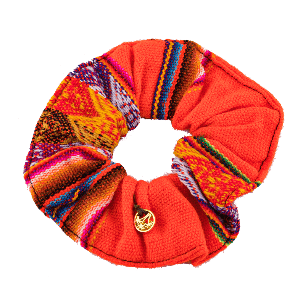 Inca Woven Scrunchie in Bright Orange