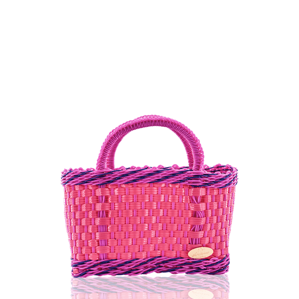 Jessica Basket Bag in Pink and Pink Blue - Josephine Alexander Collective