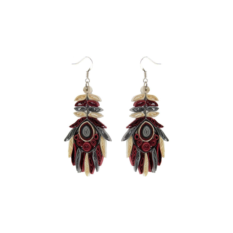 Josselyn Quilled Earrings in Garnet - Josephine Alexander Collective