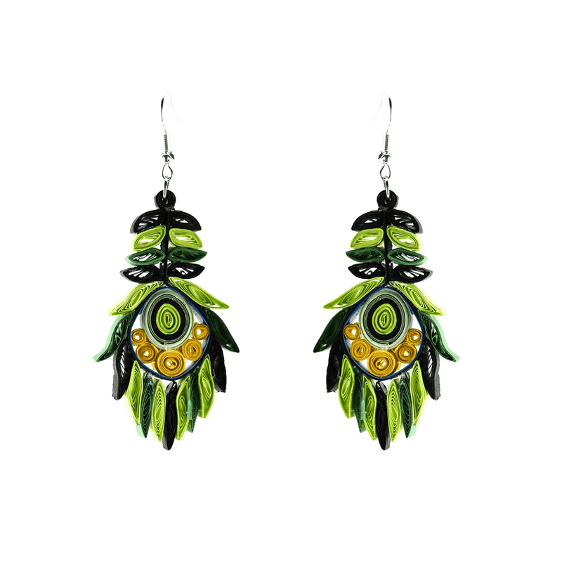 Josselyn Quilled Earrings in Lemon Lime - Josephine Alexander Collective