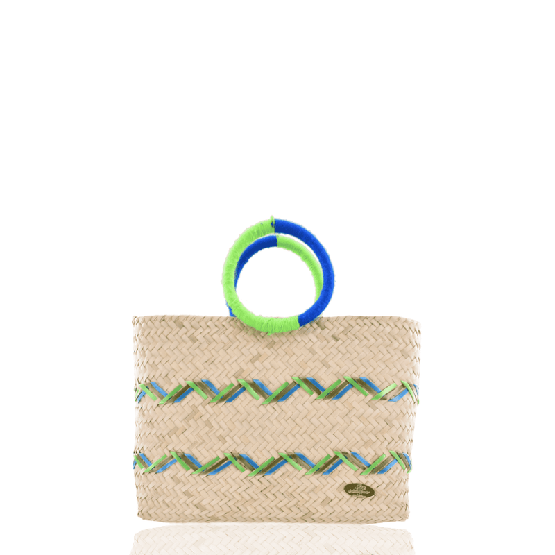 Kelly Straw Handbag in Blue and Neon Green - Josephine Alexander Collective