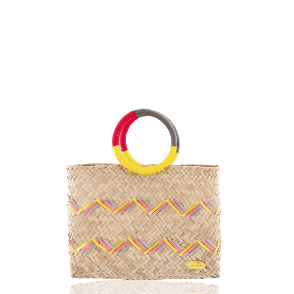Kelly Straw Handbag in Pink , Yellow and Gray - Josephine Alexander Collective