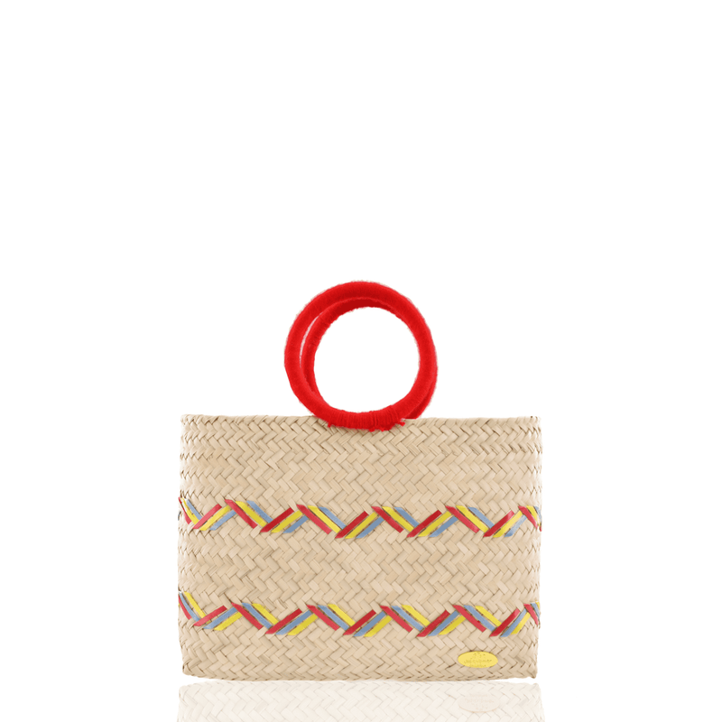 Kelly Straw Handbag in Red, Yellow and Blue - Josephine Alexander Collective