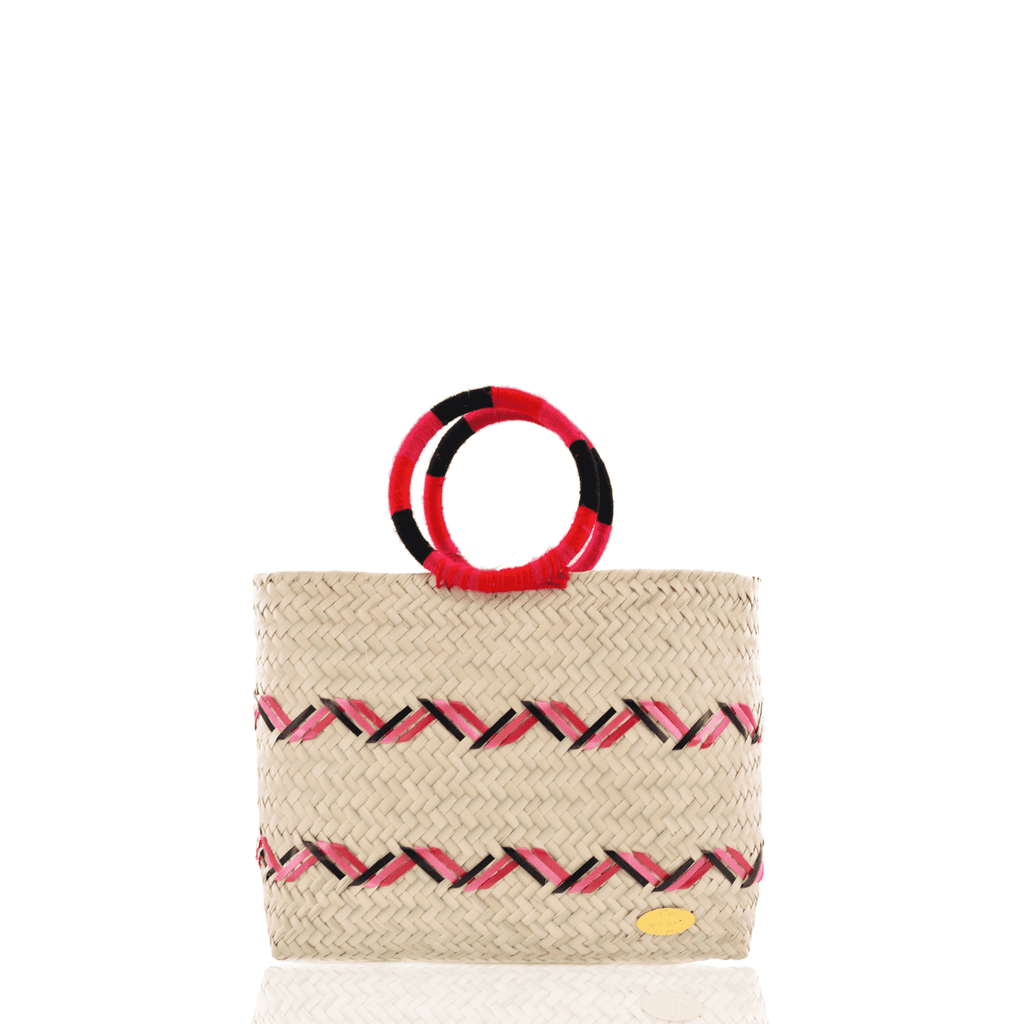 Kelly Straw Handbag in Red, Fuchsia and Black - Josephine Alexander Collective