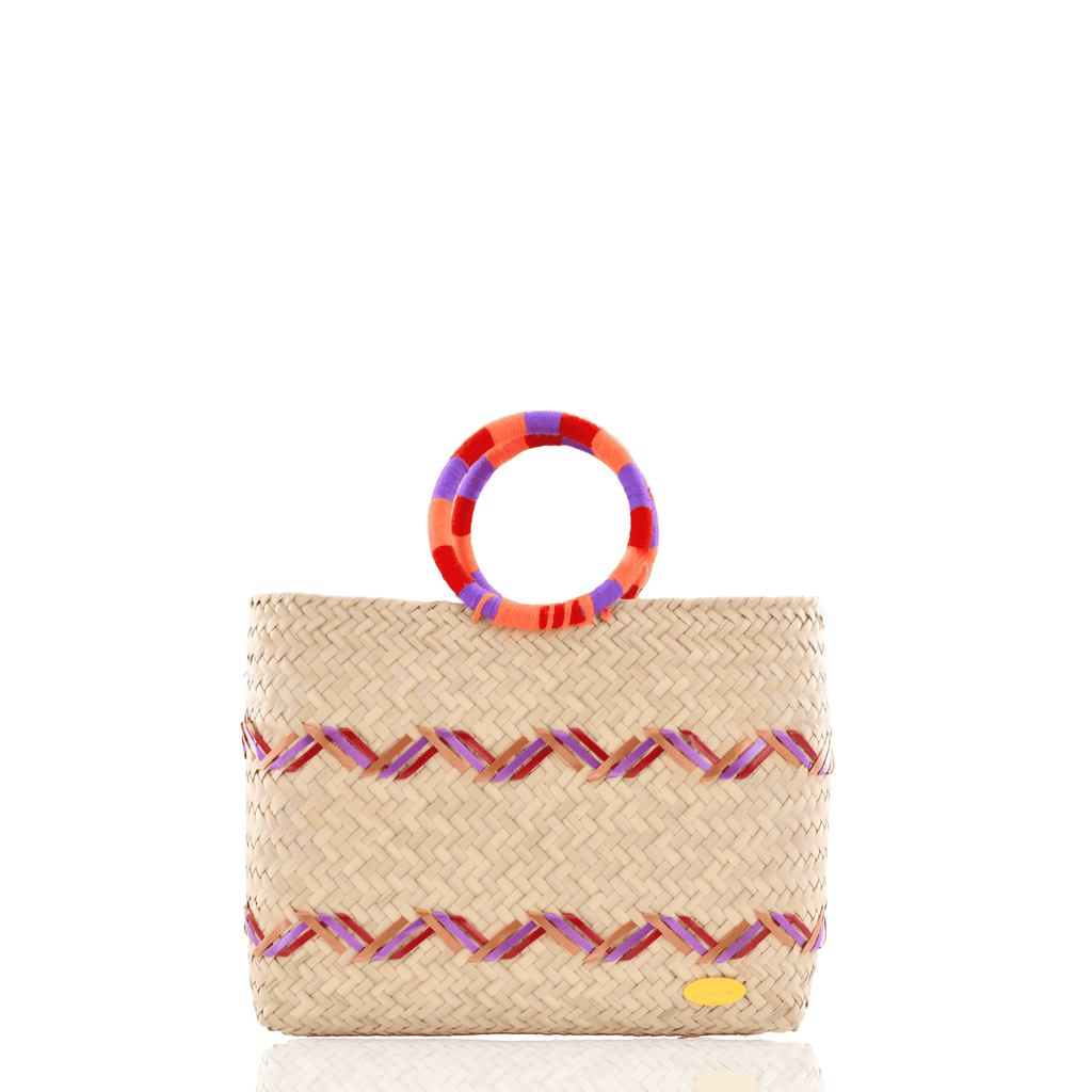 Kelly Straw Handbag in Orange, Red and Violet - Josephine Alexander Collective