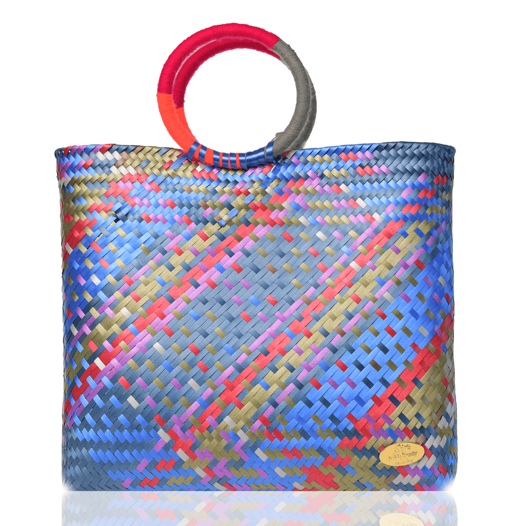 Kelly Woven Bag in Sapphire Rainbow - Josephine Alexander Collective