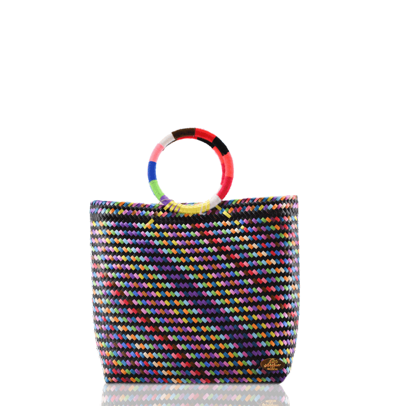 Kelly Woven Bag in Black Rainbow