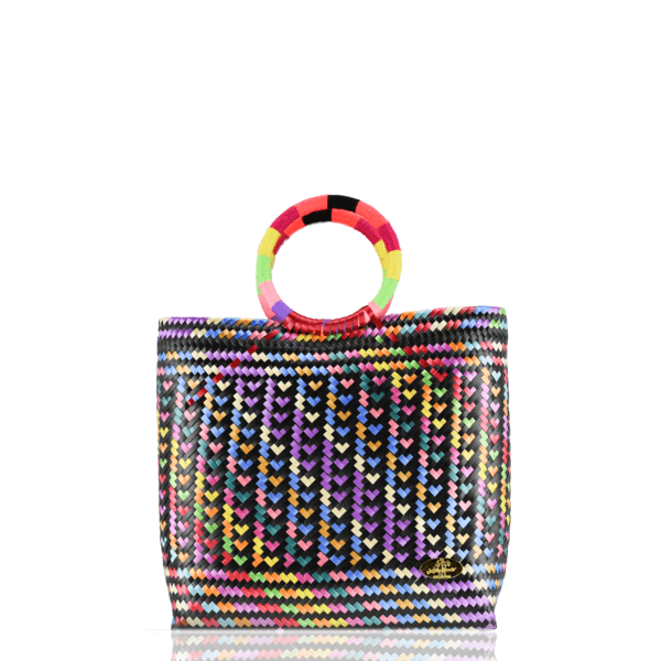 Kelly Woven Bag in Rainbow Hearts - Josephine Alexander Collective