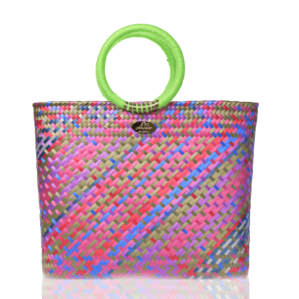Kelly Woven Bag in Peridot Rainbow - Josephine Alexander Collective