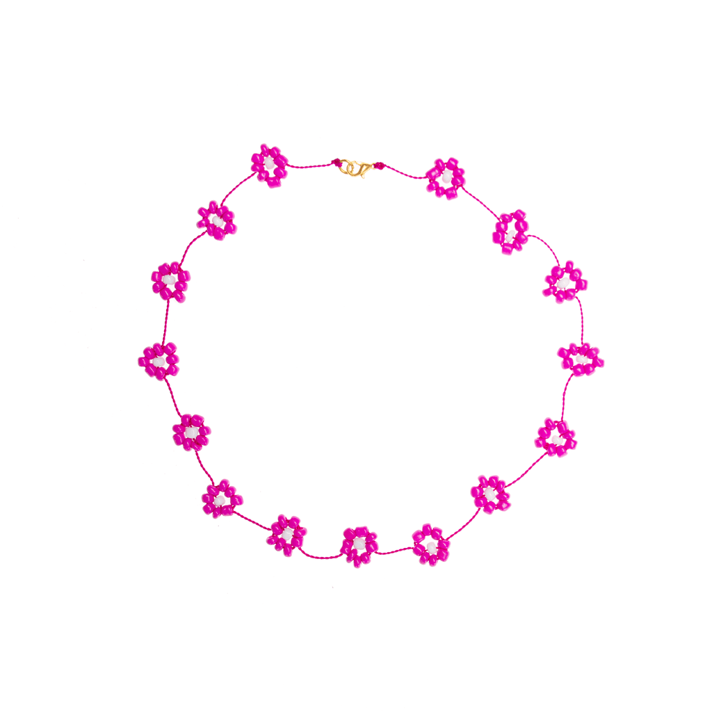 Large Daisy Chain Necklace Hot Pink - Josephine Alexander Collective