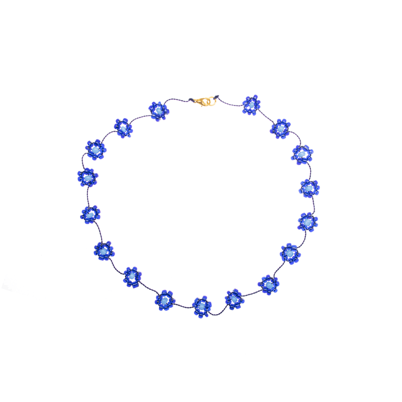 Large Daisy Chain Necklace Royal Blue - Josephine Alexander Collective