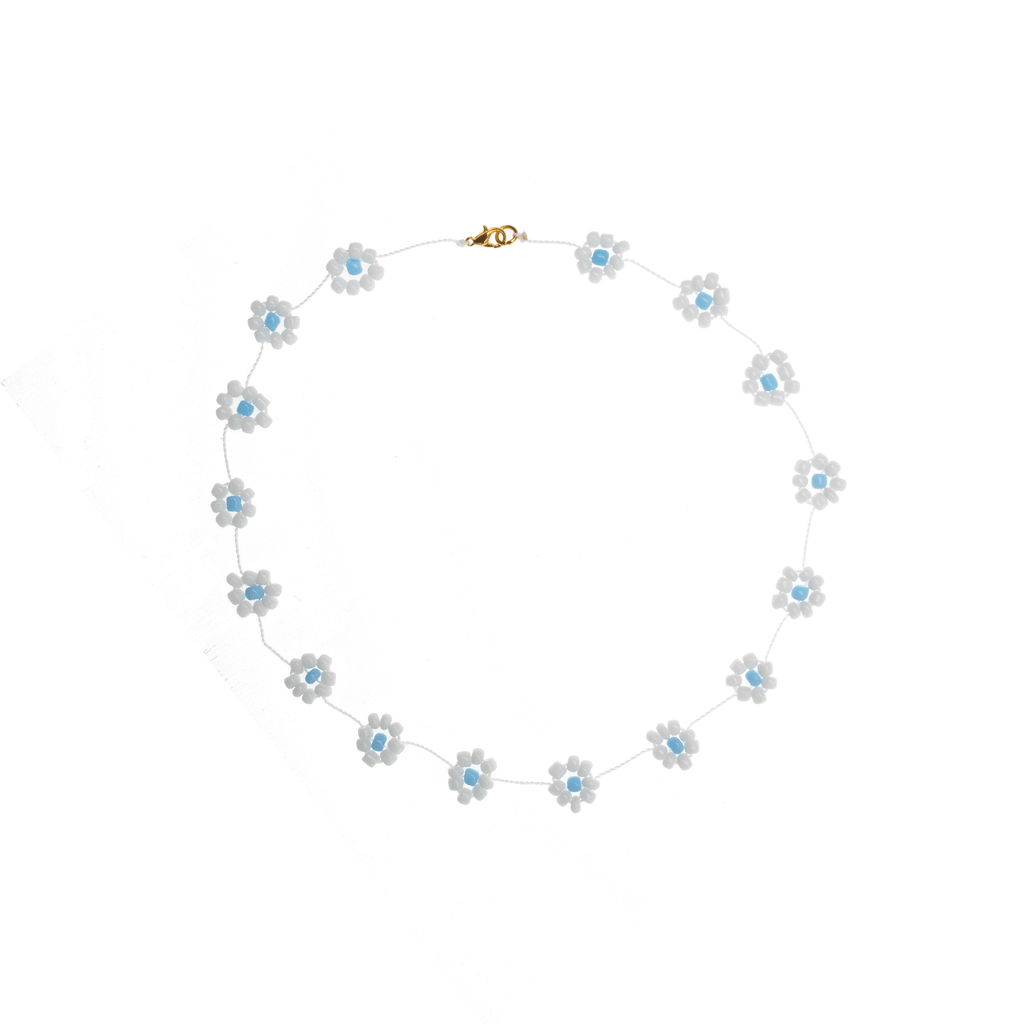 Large Daisy Chain Necklace White & Blue - Josephine Alexander Collective