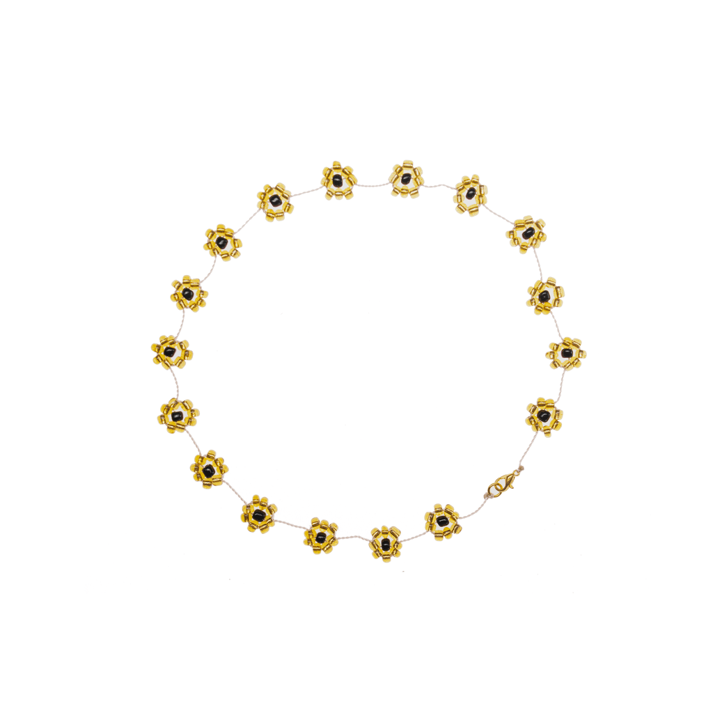 Large Daisy Chain Necklace Black & Gold - Josephine Alexander Collective