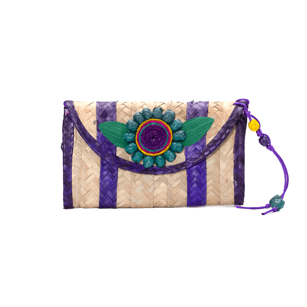 Large Melissa Wallet in  Grape with Turquoise Flower - Josephine Alexander Collective