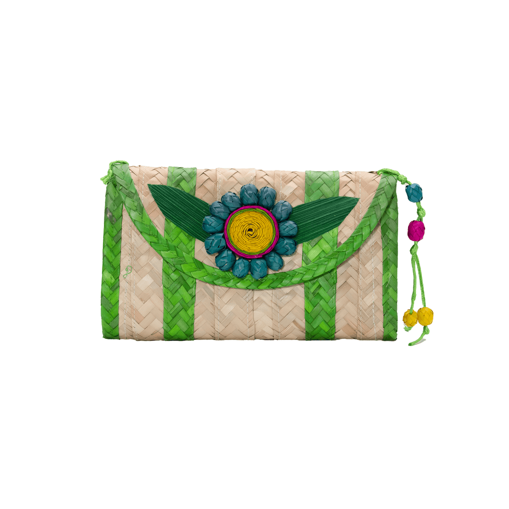 Large Melissa Wallet in Green with Turquoise Flower - Josephine Alexander Collective