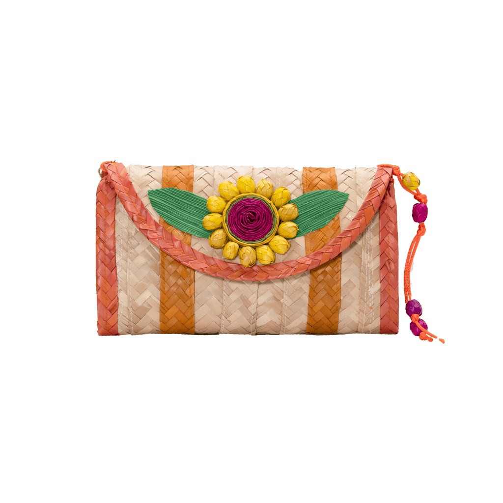 Large Melissa Wallet in Orange with Yellow Flower - Josephine Alexander Collective