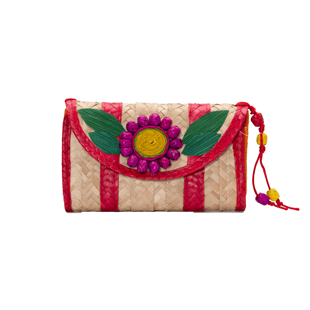 Large Melissa Wallet in Red with Purple Flower - Josephine Alexander Collective