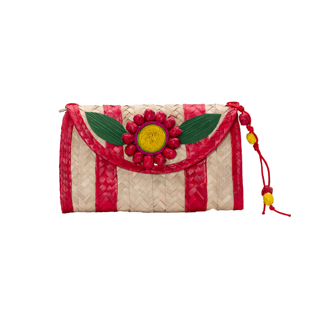 Large Melissa Wallet in Red with Red Flower - Josephine Alexander Collective