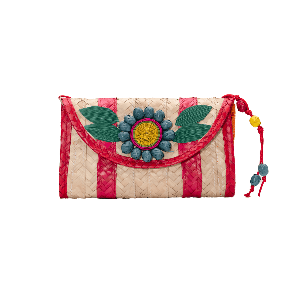 Large Melissa Wallet in Red with Turquoise Flower - Josephine Alexander Collective