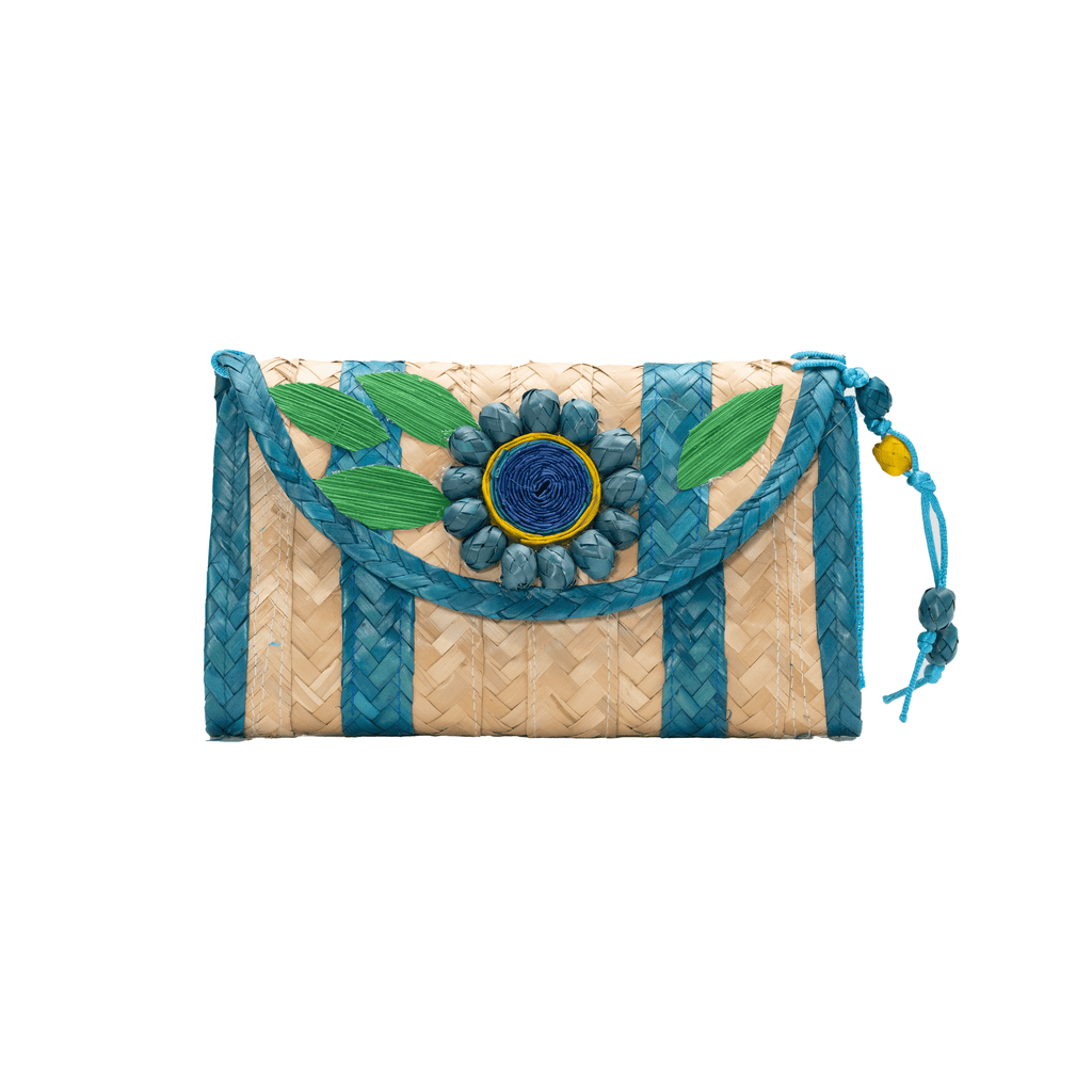 Large Melissa Wallet in Turquoise with Green Flower - Josephine Alexander Collective