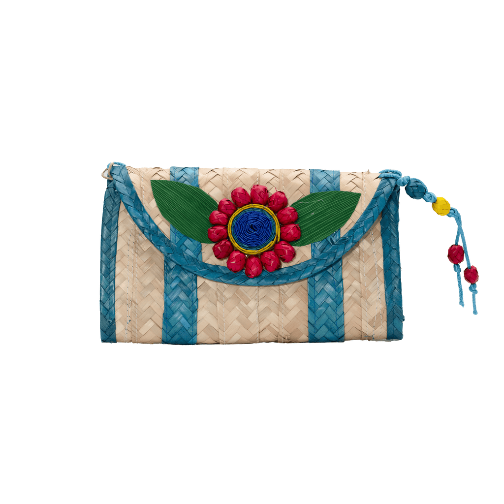 Large Melissa Wallet in Turquoise with Red Flower - Josephine Alexander Collective