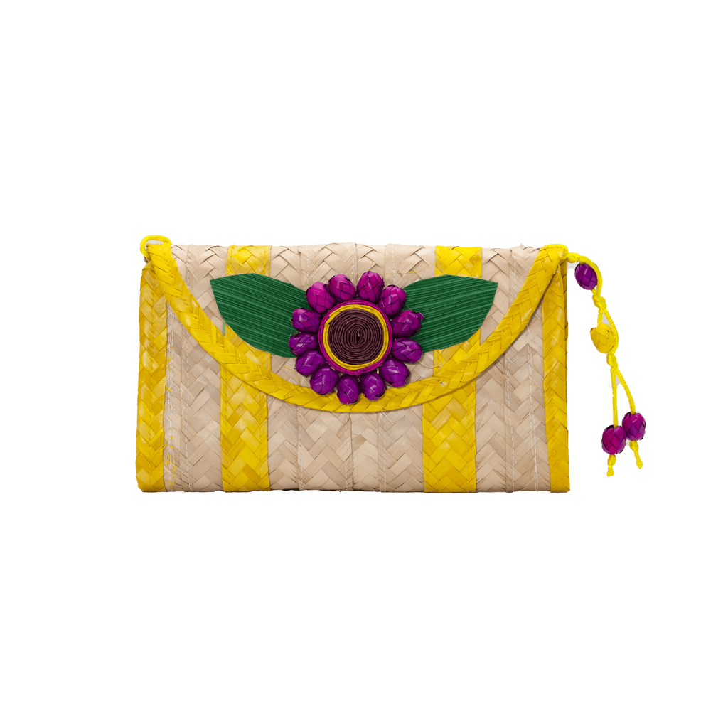 Large Melissa Wallet in Yellow with Purple Flower - Josephine Alexander Collective