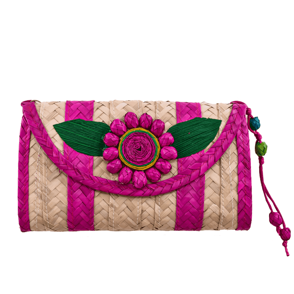Melissa Wallet in Fuchsia with Fuchsia Flower- Large