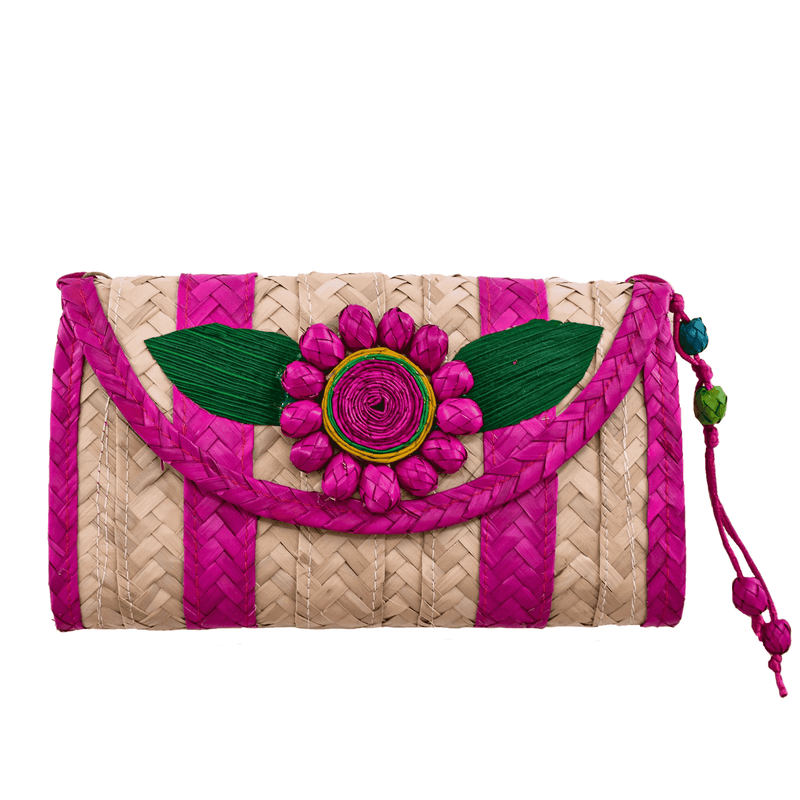 Melissa Wallet in Fuchsia with Fuchsia Flower- Large - Josephine Alexander Collective
