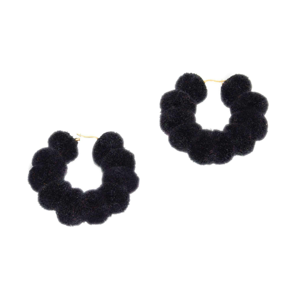 Large Pom Hoop in Black Licorice