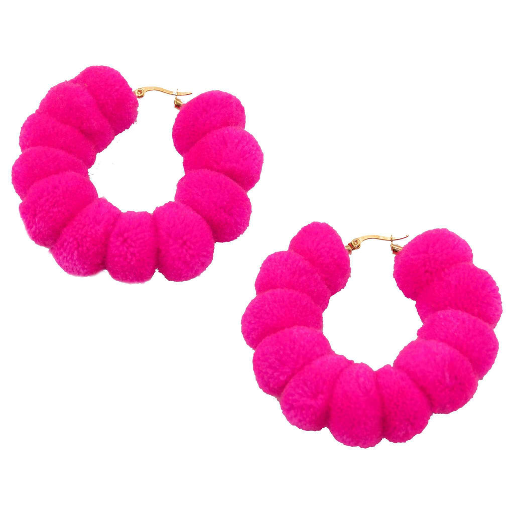 Large Pom Hoop in Hot Pink