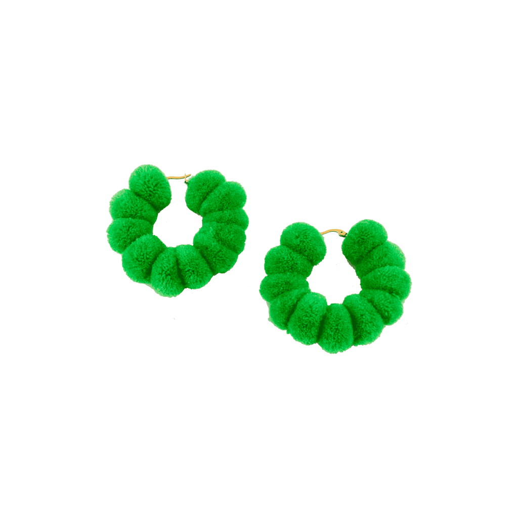 Large Pom Hoop in Neon Green
