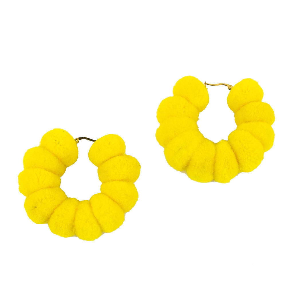 Large Pom Hoop in Neon Yellow