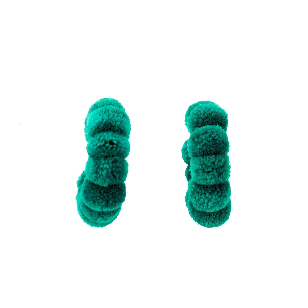 Large Pom Hoop in Turquoise Green - Josephine Alexander Collective