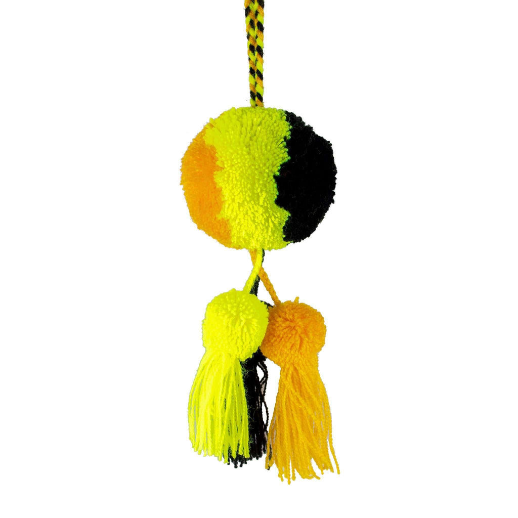 Leila Triple Pom Tassel in Black and Gold