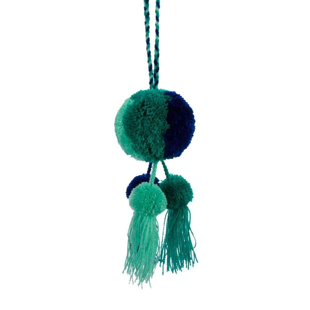 Leila Triple Pom Tassel in Blue Hawaiian