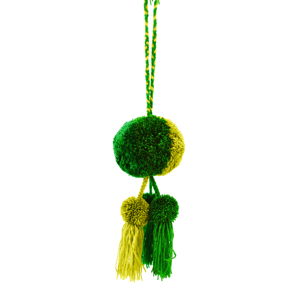 Leila Triple Pom Tassel in Evergreen