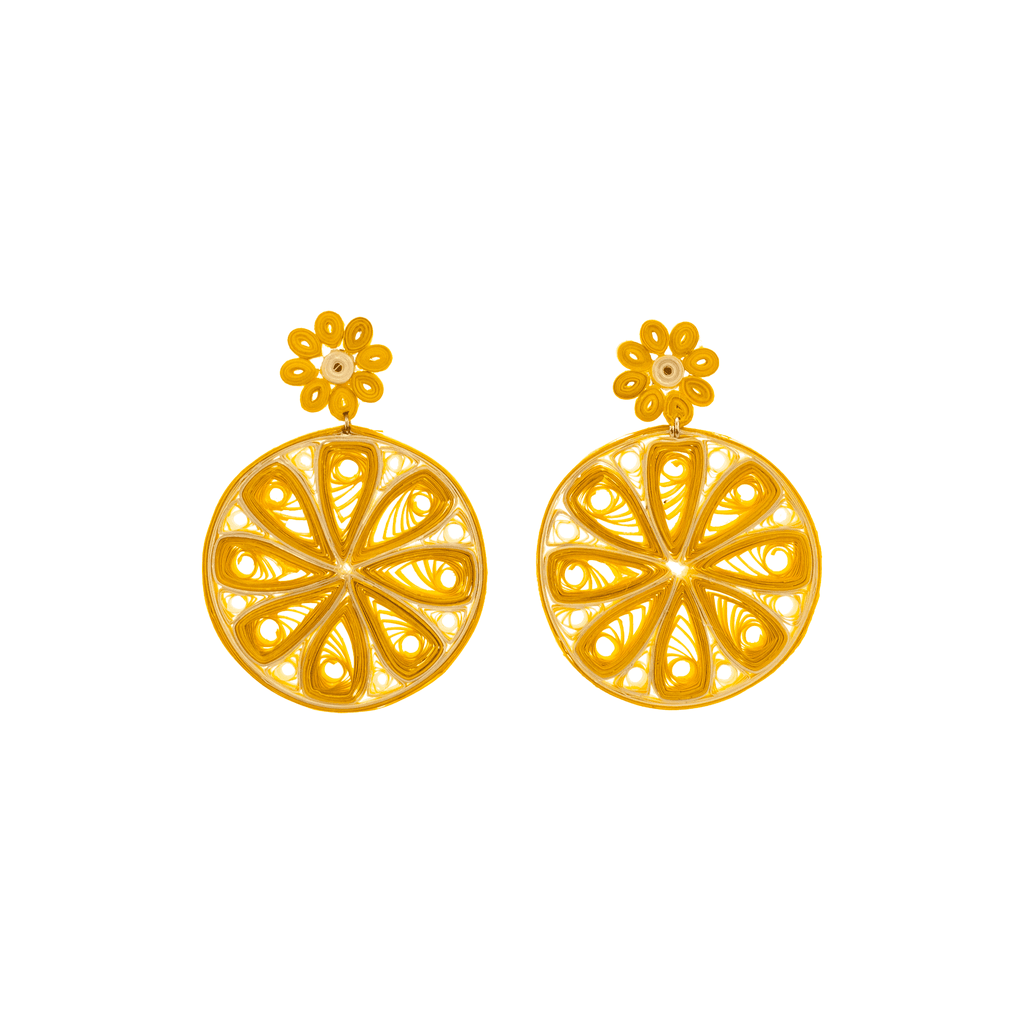 Lemon Slice Quilled Earrings