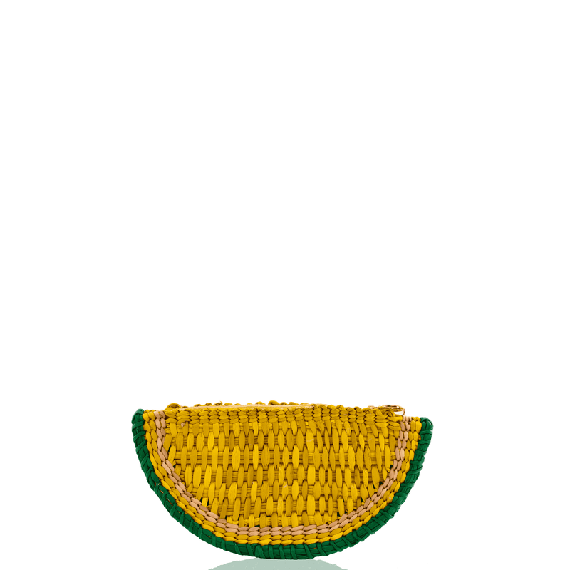 Lemon Lime Straw Clutch - Josephine Alexander Collective