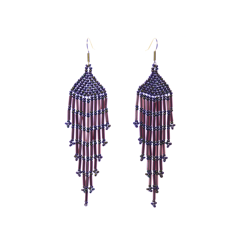 Long Fiesta Earrings in Purple - Josephine Alexander Collective