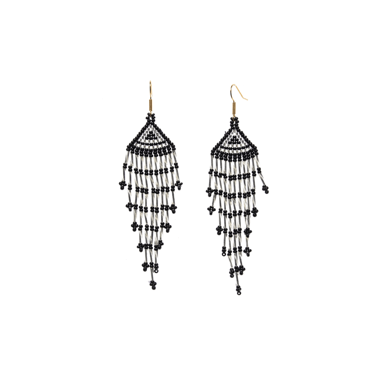 Long Fiesta Earrings in Black and Silver - Josephine Alexander Collective