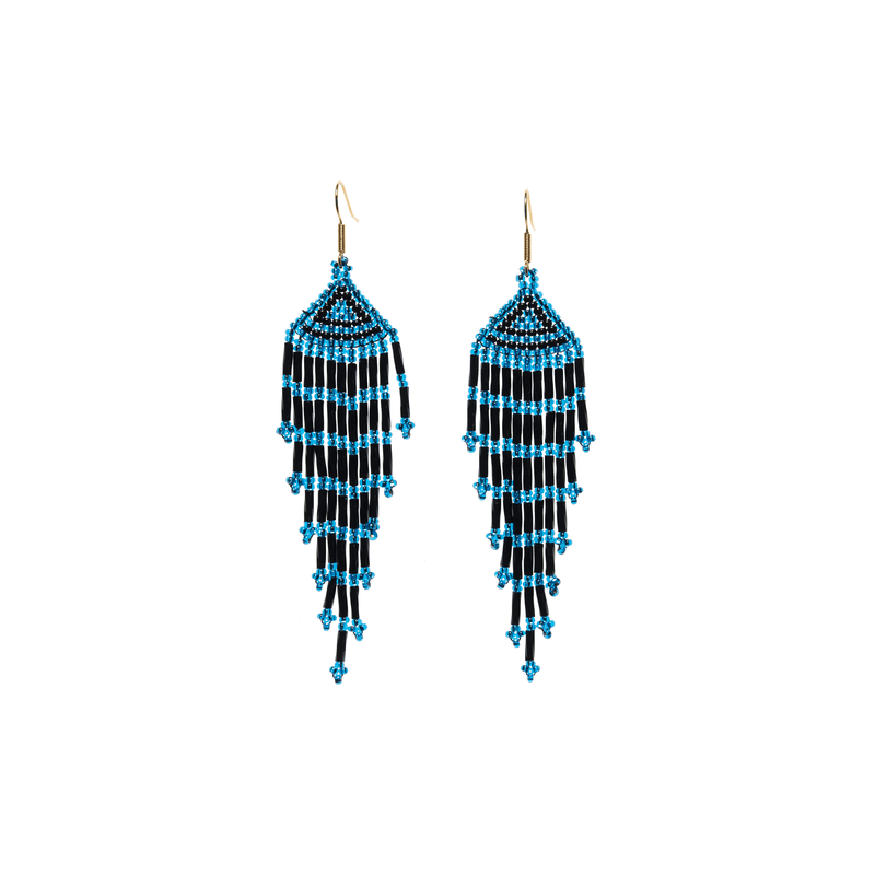 Long Fiesta Earrings in Blue and Black - Josephine Alexander Collective