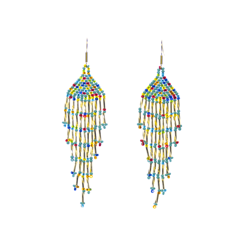 Long Fiesta Earrings in Turquoise Gold Rainbow - Josephine Alexander Collective