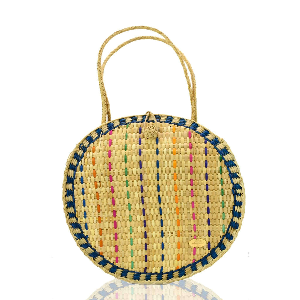 Luna Straw Bag in Cielo - Josephine Alexander Collective