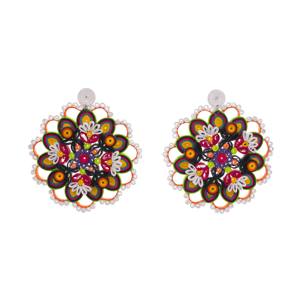 Mandala Flower Quilled Earrings