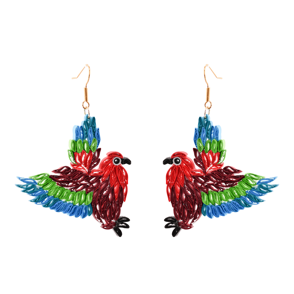 Birds of a Feather Earrings - Mary the Macaw - Josephine Alexander Collective